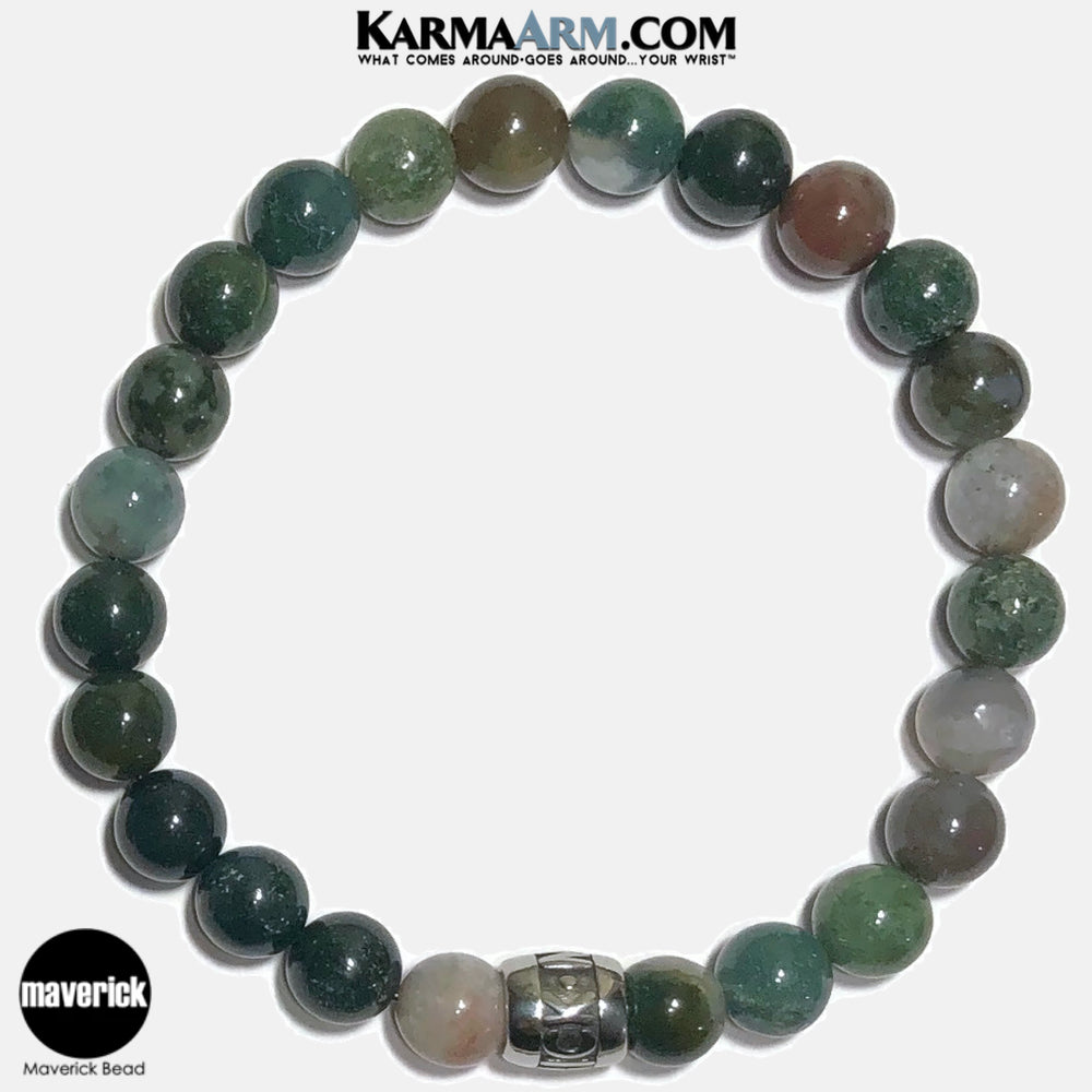 MAVERICK Meditation Mantra Yoga Bracelets. Self-Care Wellness Wristband Jewelry.  Indian Agate.