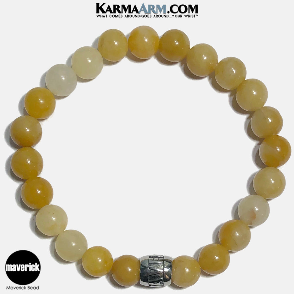 MAVERICK Meditation Mantra Yoga Bracelets. Self-Care Wellness Wristband Jewelry. Yellow Aventurine. copy 9