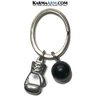 MMA Boxing Glove Fitness Workout Weight Keychain Keyring Key Chain ring. black onyx.