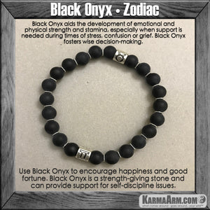 Mala Yoga bracelet - meditation| Karma Arm | mens womens charm chakra beaded stacks.  Black Onyx Zodiac.