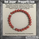 Mala Yoga bracelet - meditation meaning – mens womens charm chakra beaded stacks. Red Jasper Prosperity.
