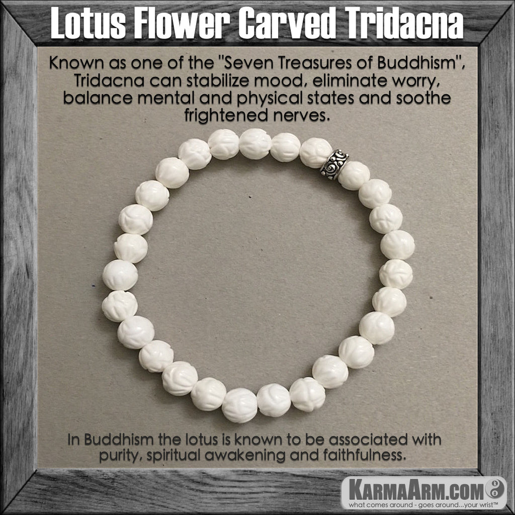 Yoga Bracelets. Chakra Jewelry. Meditation Mala stacks. Tridacna Lotus Flower.