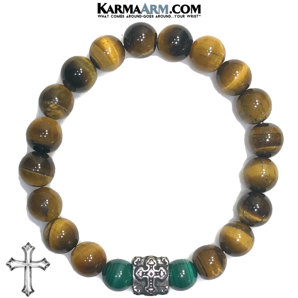 GOOD INTENTIONS | Tiger Eye | Malachite | Cross Bracelet