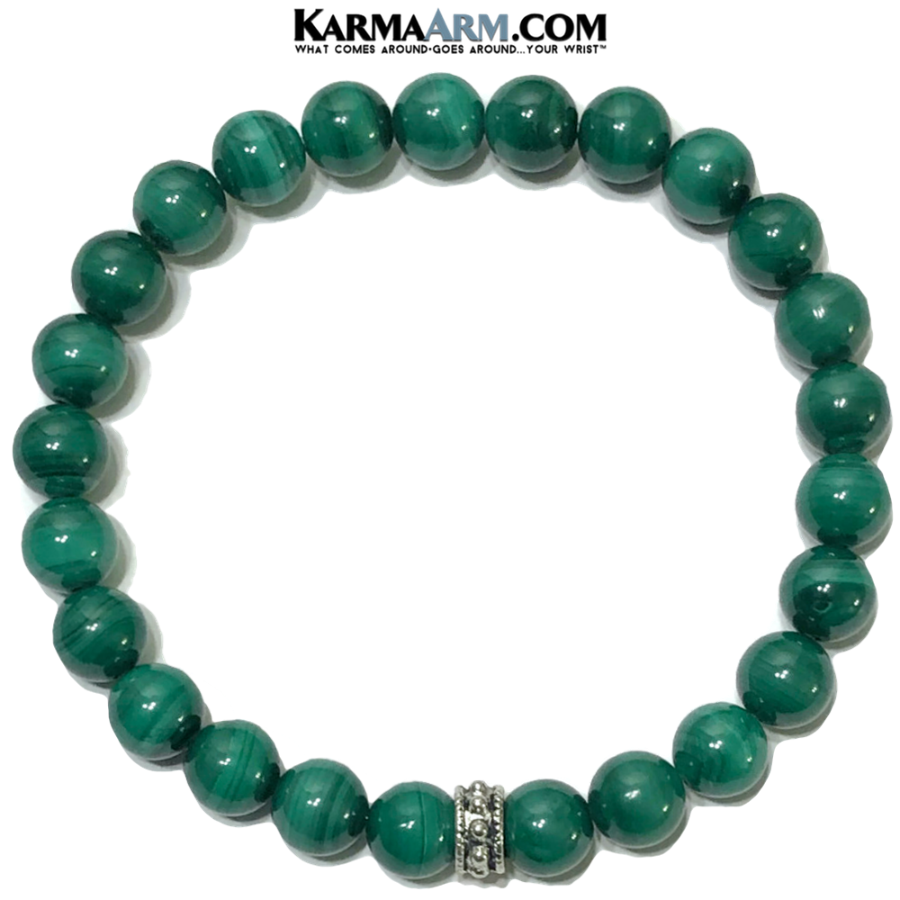 Malachite Mindful Meditation Self-Care Wellness Yoga Bracelets. Mens Wristband Jewelry.