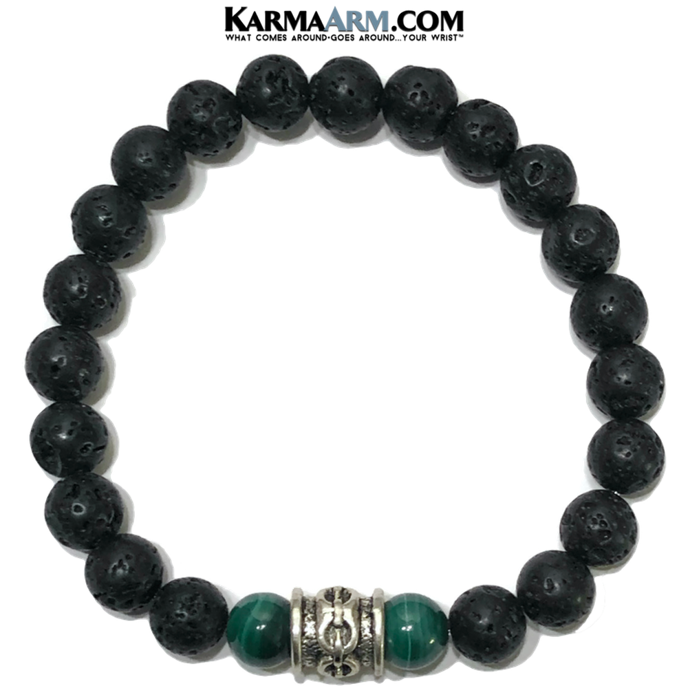 Malachite Mindful Meditation Self-Care Wellness Yoga Bracelets. Mens Wristband Jewelry. Lava Chainlink.