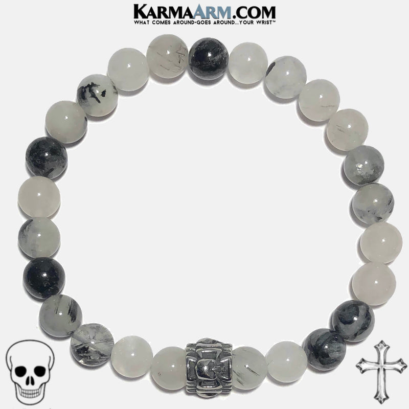 PROTECTION | Tourmaline Quartz | Skull & Maltese Cross Bracelet
