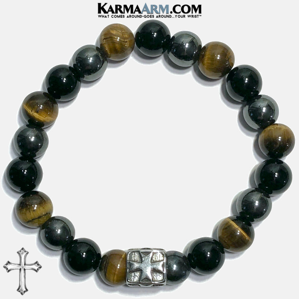 Maltese Cross Meditation Mantra Yoga Bracelets. Mens Wristband Jewelry. Tiger Eye Onyx Hematite. copy