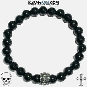 Maltese Cross Skull Meditation Mantra Yoga Bracelets. Mens Wristband Jewelry. Black Onyx.