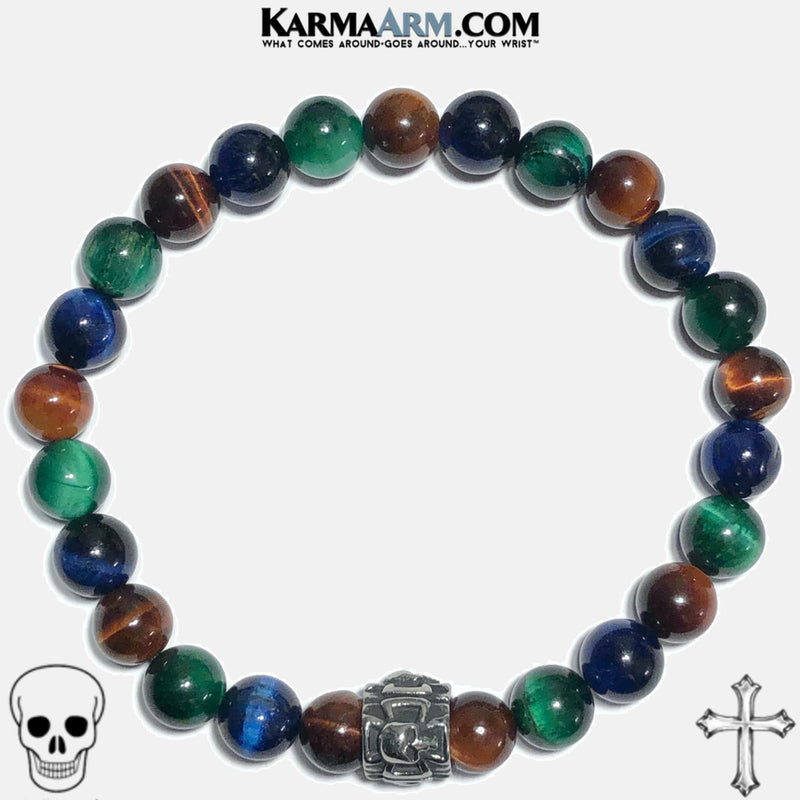 Maltese Cross Skull Meditation Mantra Yoga Bracelets. Mens Wristband Jewelry. Green Red Blue Tiger Eye.