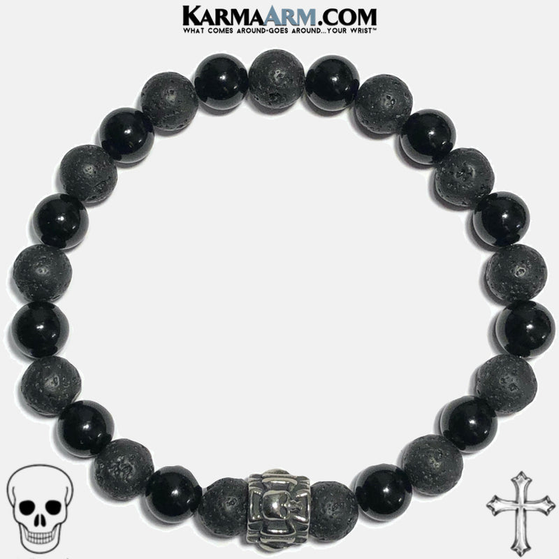Maltese Cross Skull Meditation Mantra Yoga Bracelets. Mens Wristband Jewelry. Lava. Black Onyx.