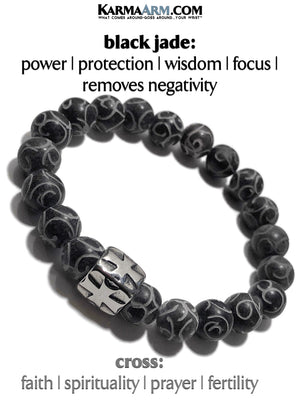 Mantra Yoga Bracelet. Meditation Self-Care Wellness Wristband Zen bead mala Jewelry.  Black Jade.