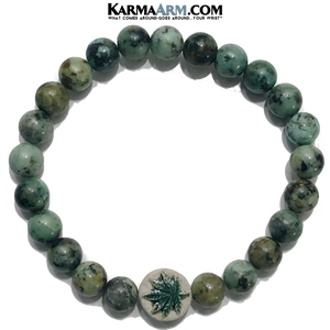 Marijuana Cannabis Yoga Bracelets. Pot Hemp CBD Jewelry. Meditation Zen Beaded Bracelet. African Turquoise.
