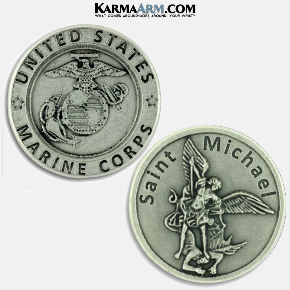 Marine Corps | St. Michael | Military Heroes Patron Saint of Cancer | Miracle Medal Pocket Token. Healing Saints | Prayer Tokens.  Lucky Poker Pocket Tokens.  Inspirational coins. copy