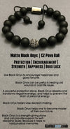 Yoga Bracelets. Black Onyx Pave Stretch Mens Jewelry. Chakra Mantra.Meditation Mindfulness.