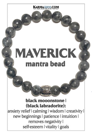 Maverick Mantra Mindfulness Yoga Bracelets. Meditation Welness Jewelry. Black Labradorite Moonstone.