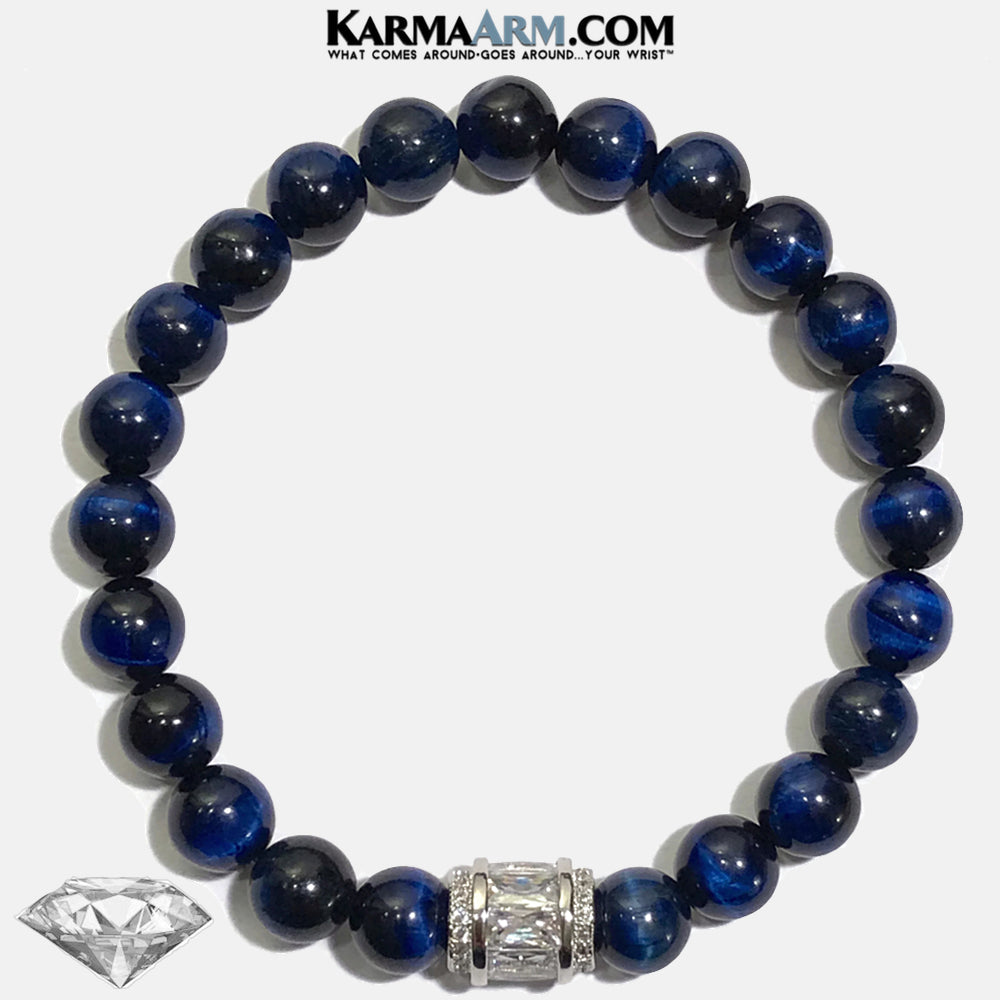Meditation Mantra Mindfulness Self-care Yoga Bracelets. Mens Wellness Wristband Jewelry. Blue Tiger Eye. Diamond Barrel.