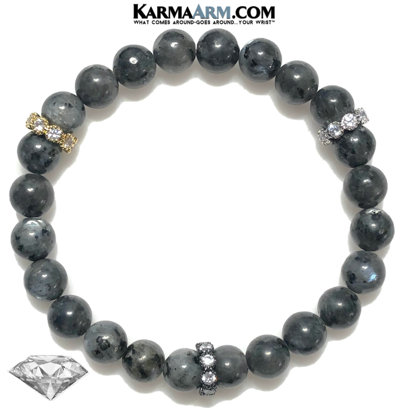 Meditation Wellness Self-Care Yoga Bracelets. Mens Wristband Jewelry. Black Labradorite.