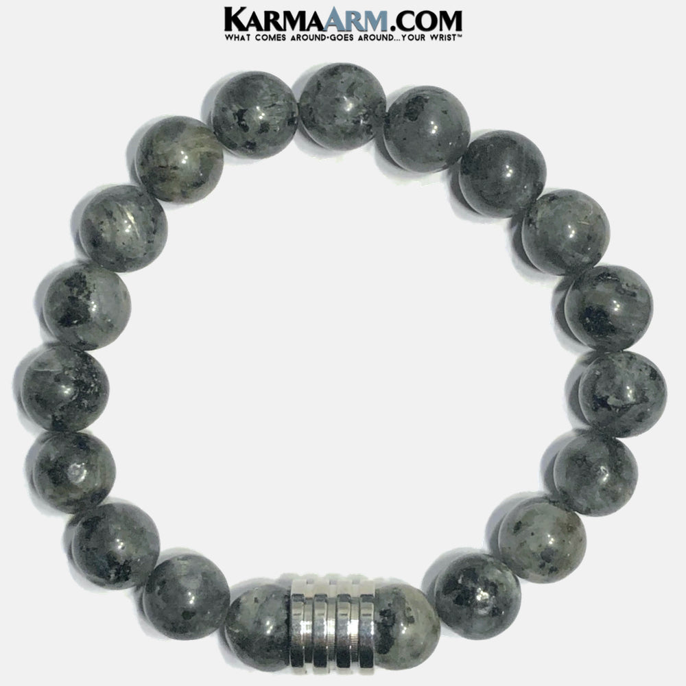 Meditation Mantra Self-Care Wellness Yoga Bracelets. Mens Wristband Jewelry. Black Labradorite.