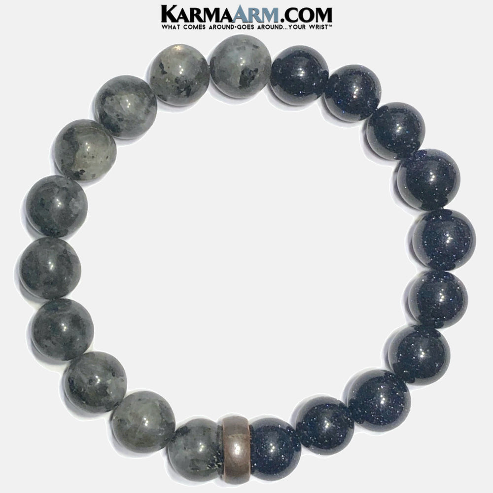 Mens Meditation Wellness Self-Care Yoga Bracelets. Mens Wristband Jewelry. Black Labradorite Moonstone Blue Goldstone.
