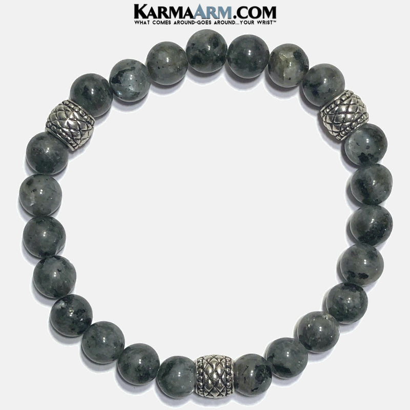 Meditation Mantra Self-Care Wellness Yoga Bracelets. Mens Wristband Jewelry. Black Labradorite Quilted.