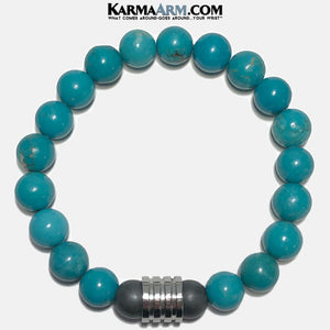 Meditation Mantra Self-Care Wellness Yoga Bracelets. Mens Wristband Jewelry. Turquoise