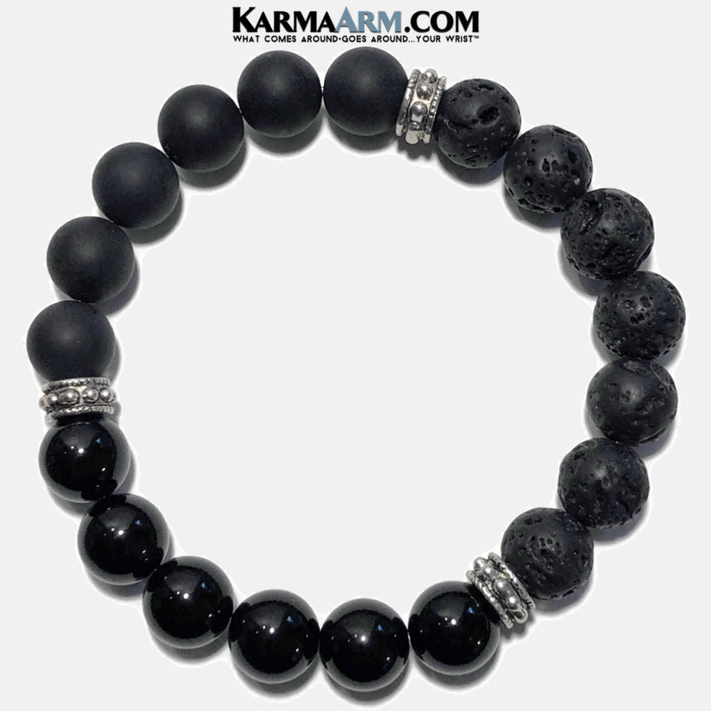 Meditation Mantra Yoga Bracelet. Meditation Self-Care Wellness Wristband Zen bead mala Jewelry.  Happiness Onyx Lava. copy