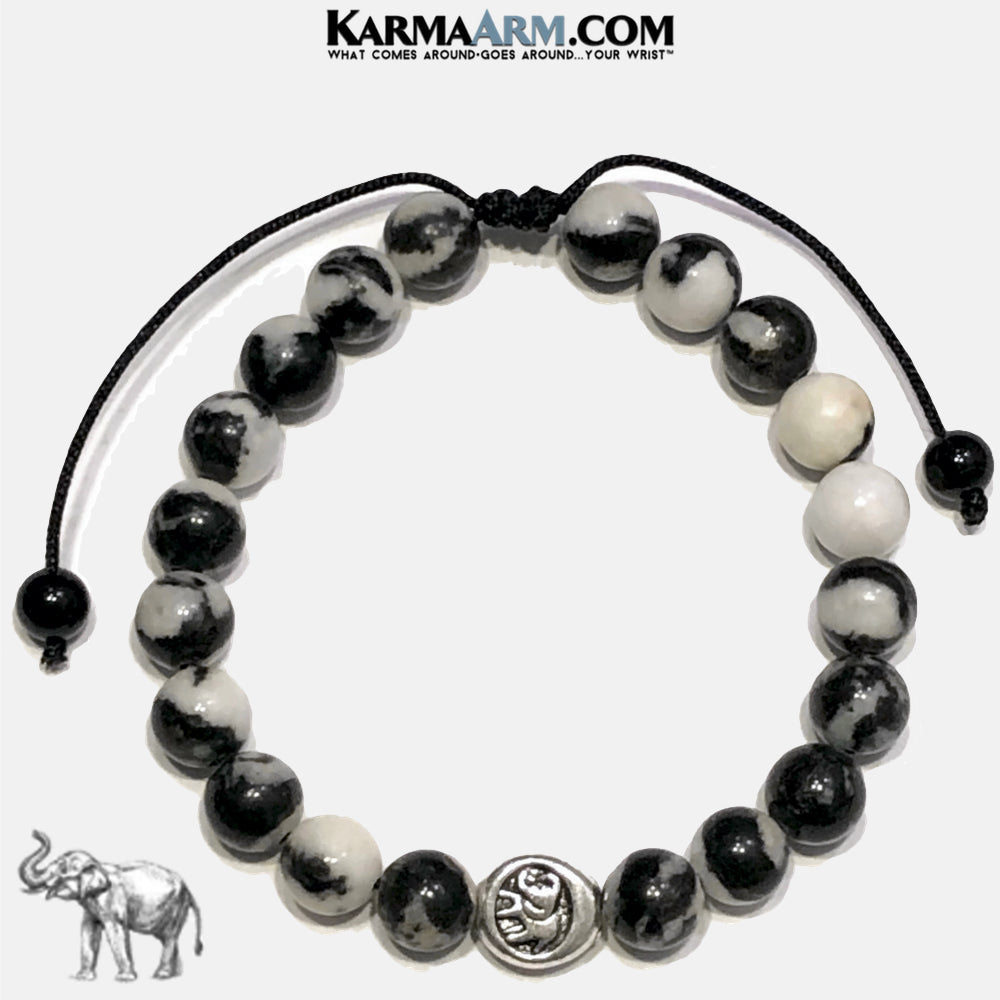 Meditation Mantra Yoga Bracelet. Self-Care Wellness Wristband. Zebra Jasper.