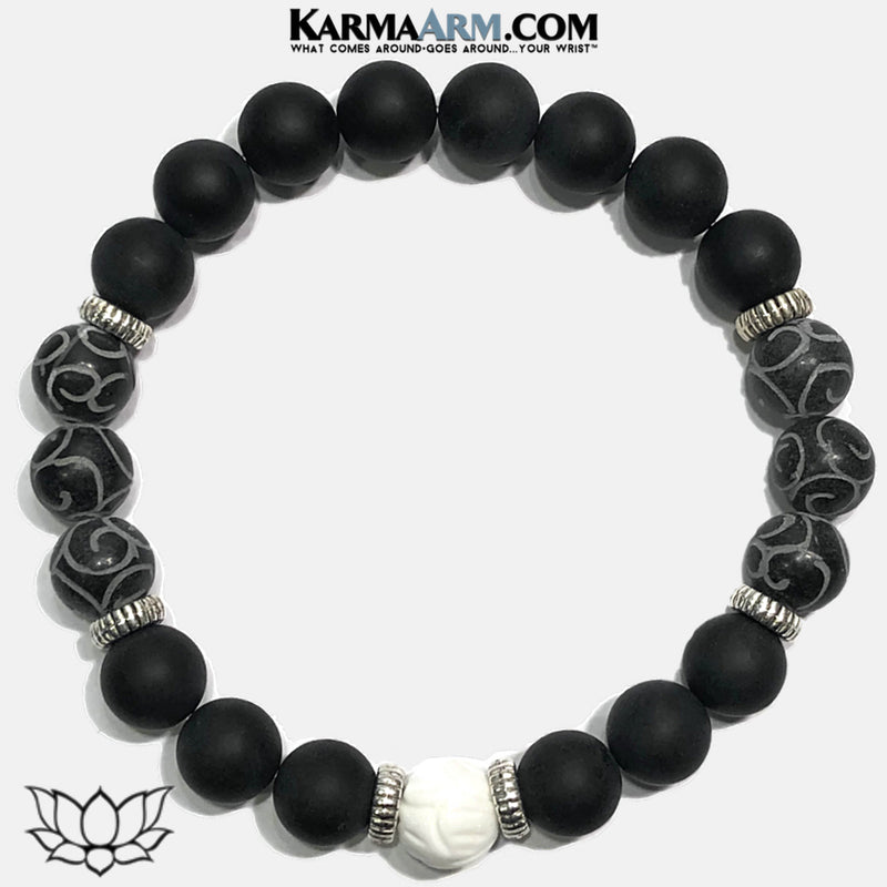 Meditation Mantra Yoga Bracelet. Self-Care Wellness Wristband Lotus Tridacna Onyx Carved Black Jade.