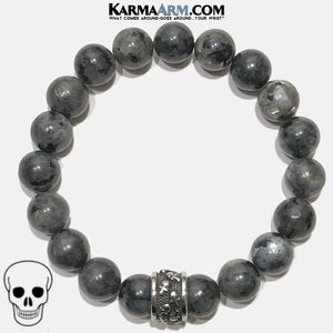 Meditation Mantra Yoga Bracelet. Self-Care Wellness Wristband Skull Jewelry. Black Moonstone.