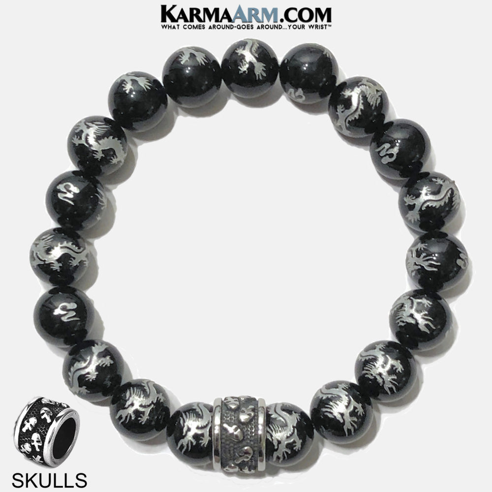 Meditation Mantra Yoga Bracelet. Self-Care Wellness Wristband Skull Jewelry. Dragon Agate.