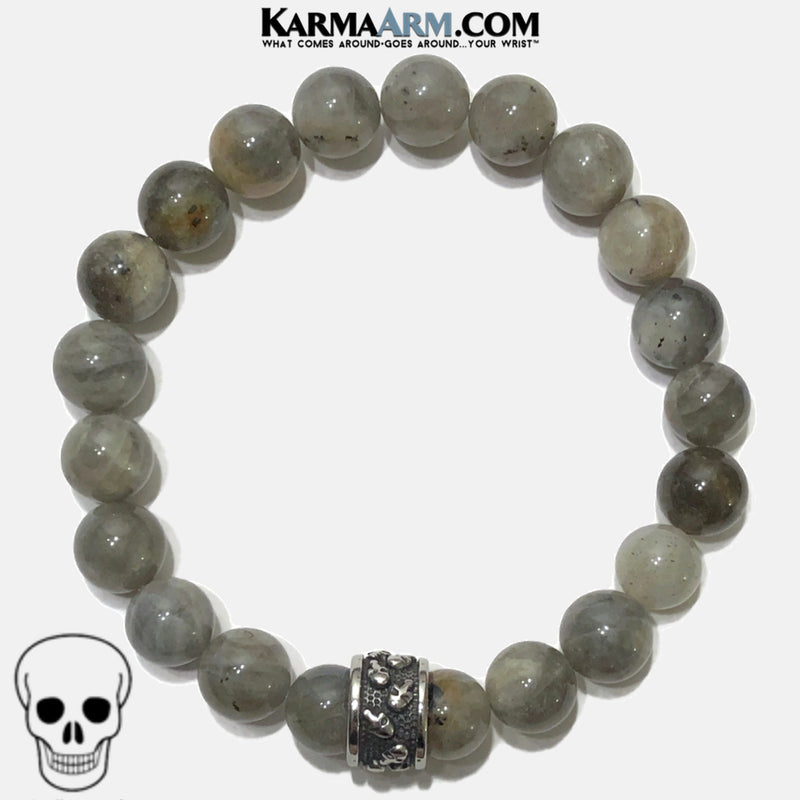 Skull Meditation Mantra Yoga Bracelet. Self-Care Wellness Wristband Skull Jewelry. Labradorite.