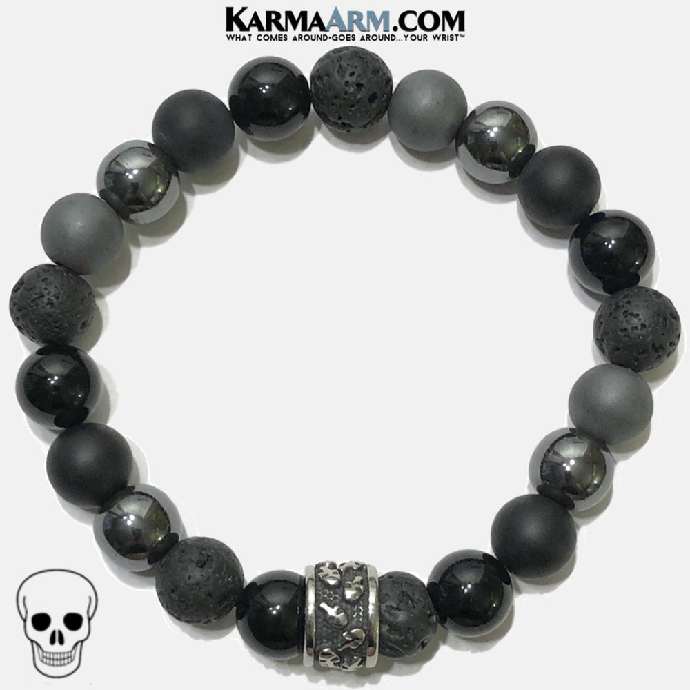 Meditation Mantra Yoga Bracelet. Self-Care Wellness Wristband Skull Jewelry. Lava Onyx Hematite.