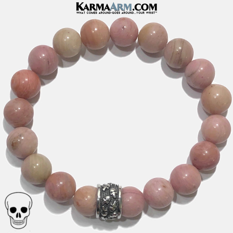 Meditation Mantra Yoga Bracelet. Self-Care Wellness Wristband Skull Jewelry.  Rhodochrosite.