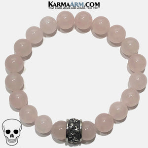Meditation Mantra Yoga Bracelet. Self-Care Wellness Wristband Skull Jewelry. Rose Quartz.