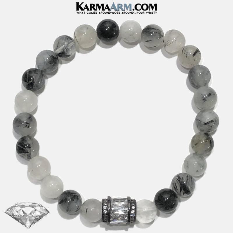 Meditation Mantra Yoga Bracelet. Self-Care Wellness Wristband Tourmaline Quartz.
