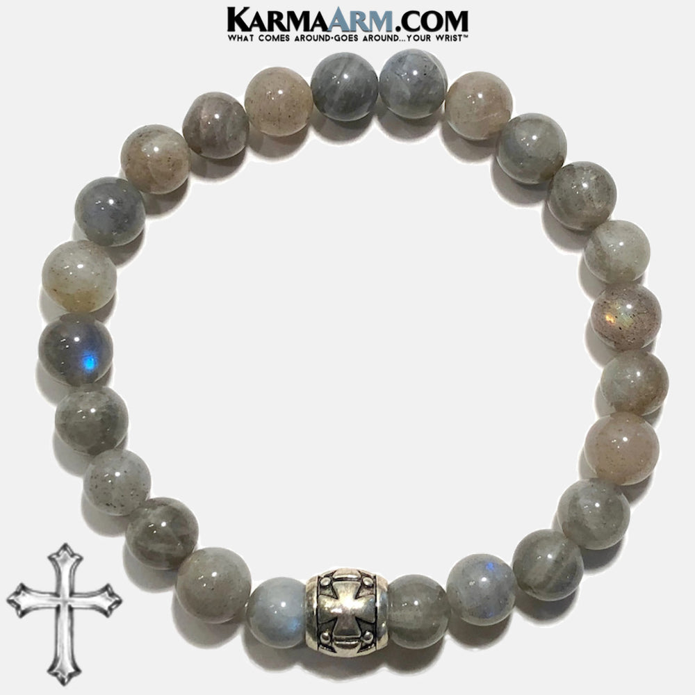 Meditation Mantra Yoga Bracelet. Self-Care Wellness Wristband Zen bead mala Jewelry. Labradorite Gothic Cross.