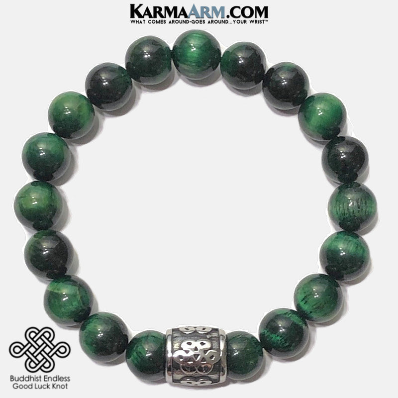 Meditation Mantra Yoga Bracelet. Self-Care Wellness Wristband Zen bead mala Jewelry. green tiger eye feng shui knot.