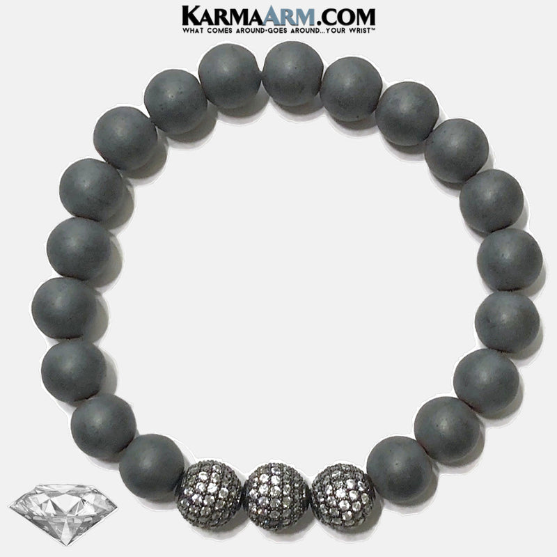 Meditation Mantra Yoga Bracelet. Self-Care Wellness Wristband Zen bead mala Jewelry. hematite Diamond Balls.