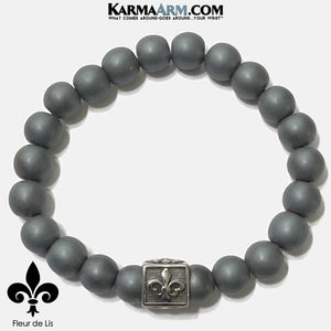 Meditation Mantra Yoga Bracelet. Self-Care Wellness Wristband Zen bead mala Jewelry. matte hematite fleur de lis.