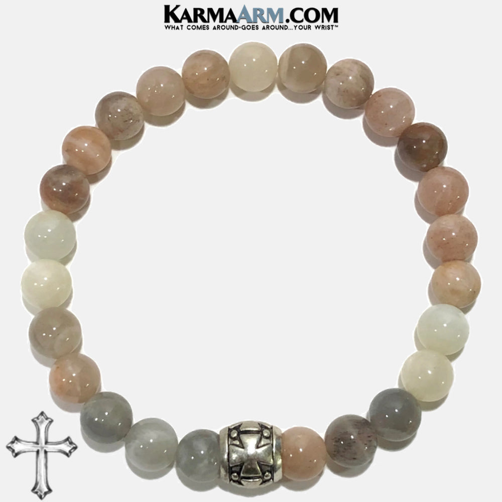 Meditation Mantra Yoga Bracelet. Self-Care Wellness Wristband Zen bead mala Jewelry. sunstone gothic cross.