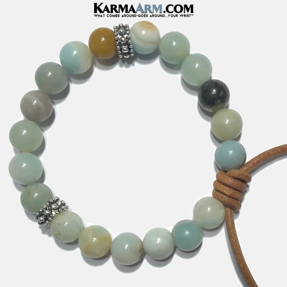 Leather Meditation Mantra Yoga Bracelets. Mens Wristband Jewelry. Amazonite. copy