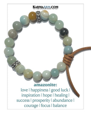 Meditation Mantra Yoga Bracelets. Mens Wristband Jewelry. Amazonite. copy