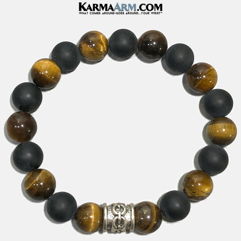 Meditation Mantra Yoga Bracelets. Mens Wristband Jewelry. Black Onyx Tiger Eye Chainlink.
