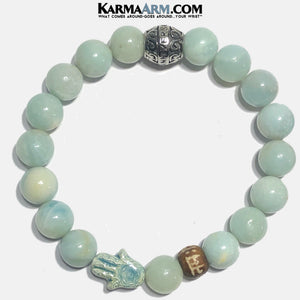 Meditation Mantra Yoga Bracelets. Mens Wristband Jewelry. Amazonite. 10mm.