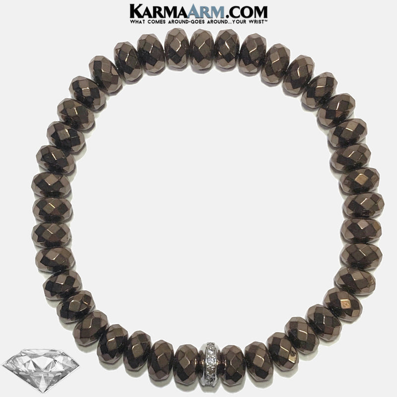 Meditation Mantra Yoga Bracelets. Mens Wristband Jewelry. Bronze Hematite.