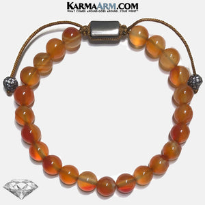 Meditation Mantra Yoga Bracelets. Mens Wristband Jewelry. Carnelian.