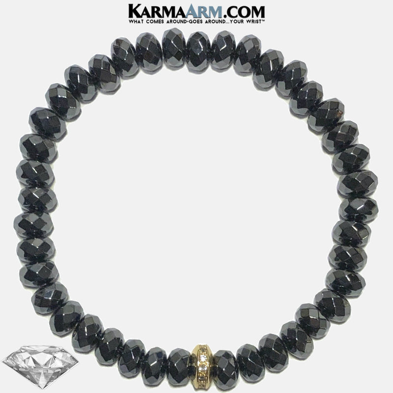 Meditation Mantra Yoga Bracelets. Mens Wristband Jewelry. Hematite.