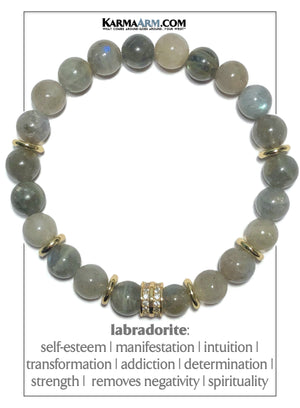 Mens Meditation Mantra Yoga Bracelets. Mens Wristband Jewelry. Labradorite. Diamond.