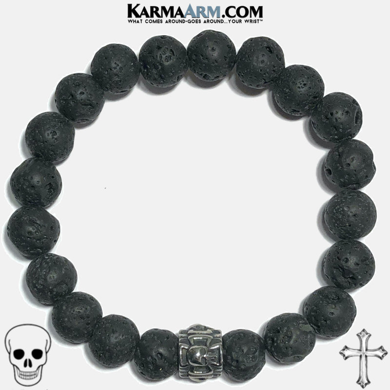Maltese Cross Skull Meditation Mantra Yoga Bracelets. Mens Wristband Jewelry. Lava.