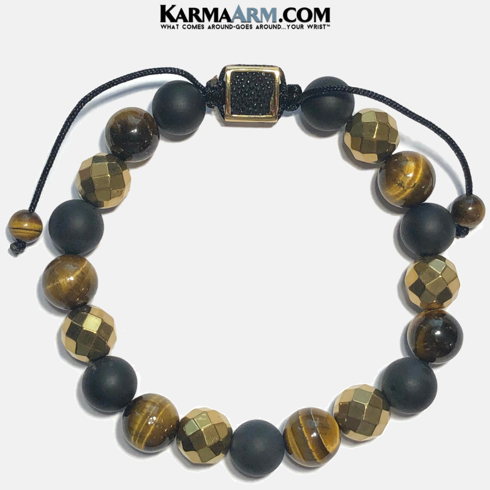 Meditation Mantra Yoga Bracelets. Mens Wristband Jewelry. Tiger Eye Onyx Hematite.